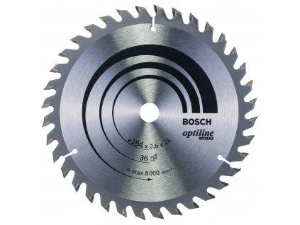 Pilový kotouč - Bosch Optiline Wood 184 x 16 x 2,6 mm/36 z.