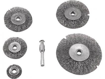 kartáče okružní ocelové, sada 5ks, 2x stopka 6mm, Fe, EXTOL CRAFT