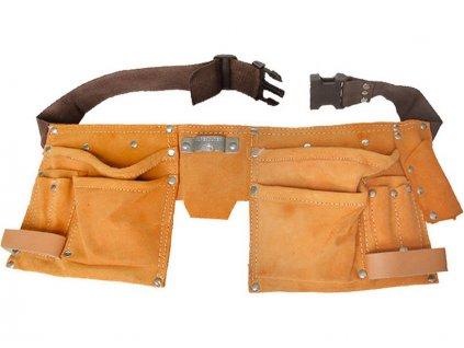 pás na nářadí kožený, 6 kapes (2 velké, 2 střední, 2 malé), 2 poutka, háček na svinovací metr, úchyty pro tužku nebo šroubovák, EXTOL CRAFT