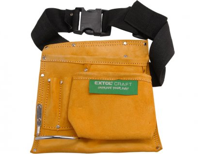 pás na nářadí kožený, 3 kapsy (velká, střední,  malá), 1 poutko, úchyty pro tužku nebo šroubovák, EXTOL CRAFT