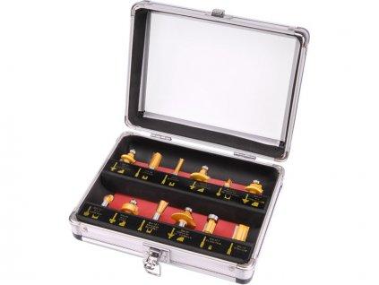 frézy tvarové do dřeva s SK plátky, sada 12ks, stopka 8mm, v kovovém kufru, SK, EXTOL CRAFT