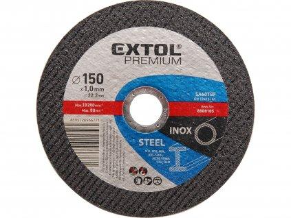kotouč řezný na ocel/nerez, 150x1,6x22,2mm, EXTOL PREMIUM