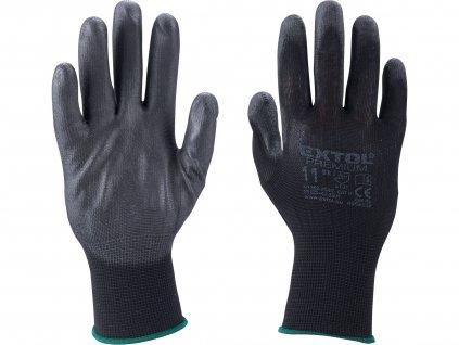 """rukavice z polyesteru polomáčené v PU, černé, velikost 11"""""""
