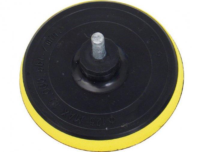 nosič brusných výseků do vrtačky - suchý zip, ∅125mm, stopka 8mm, s vloženou vrstvou měkké a ohebné pěny, EXTOL CRAFT