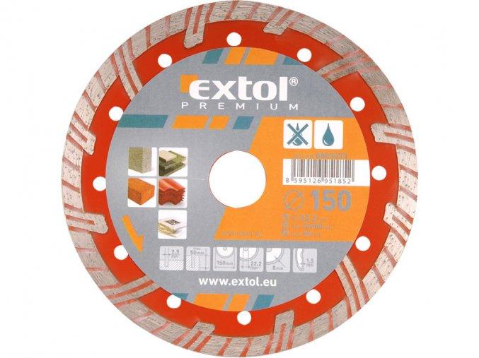kotouč diamantový řezný turbo plus, 125x22,2mm, suché i mokré řezání, EXTOL PREMIUM