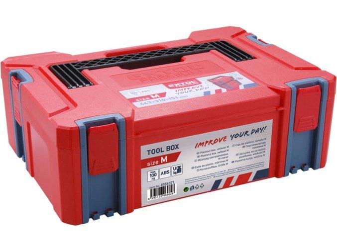 box plastový, M velikost, vněj. rozměr 443x310x151mm, ABS, EXTOL PREMIUM