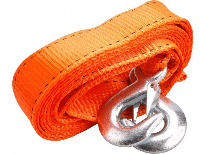 lano tažné - popruh s háky, 4m x 50mm, max. tažná síla 2800kg, ocelové háky na koncích, PES, EXTOL PREMIUM