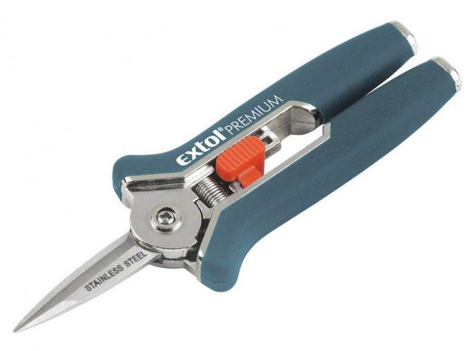 nůžky zahradnické přímé, mini, 153mm, na stříhání rostlin do průměru 6mm, NEREZ, EXTOL PREMIUM