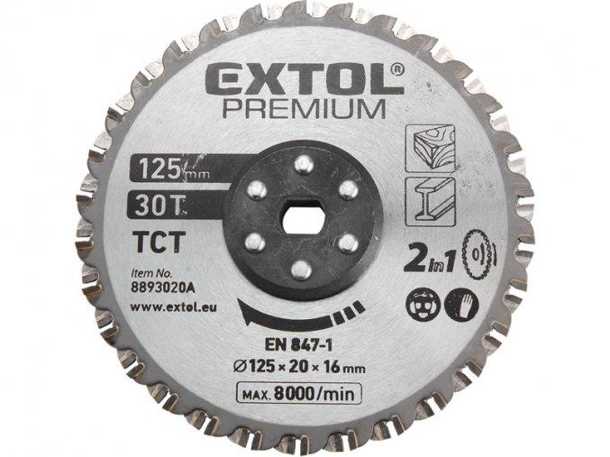 kotouč řezný, na kov a dřevo, 125x20x16mm, 38T, pro 8893020, EXTOL PREMIUM