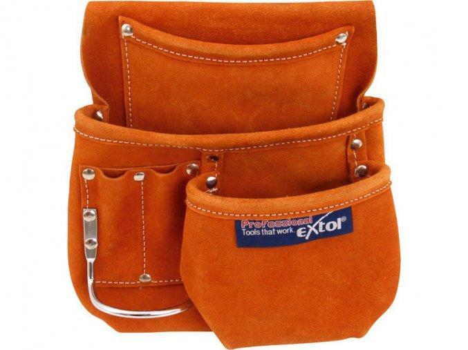 pás na nářadí kožený, 5 kapes (1 velká, 1 střední, 3 malé), držák na kladivo, úchyty pro tužku nebo šroubovák, EXTOL PREMIUM
