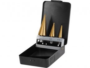 vrtáky stupňovité, sada 3ks, ∅4-12/1mm, ∅4-20/2mm, ∅4-32/2mm, titanová povrchová úprava, TiN, EXTOL CRAFT