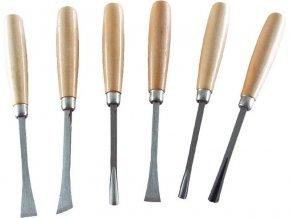 dláta řezbářská s dřevěnou rukojetí, sada 6ks, 165mm, délka dlát 165mm, EXTOL CRAFT
