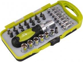 """šroubovák ráčnový s ořechy a hroty, sada 30ks, nástrčné klíče 5-6-7-8-9-10mm, mini hroty: (-) 2-2,5-3mm, PH 000-00-0, T 6-8, adaptér mini hroty 5/32"""", redukce na nástrčné klíče 1/4"""", ráčnový šroubovák zakončený 1"""