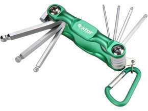 klíče imbus, sada 7ks, 1,5-2-2,5-3-4-5-6mm, mix barev: zelená, modrá, červená, skládací rukojeť s karabinou, EXTOL CRAFT