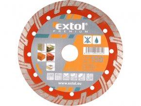 EXTOL PREMIUM - kotouč diamantový řezný turbo plus na suché i mokré řezání 230x22,2mm