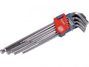 L-klíče imbus prodloužené, sada 9ks, 1,5-2-2,5-3-4-5-6-8-10mm, s kuličkou, CrV, EXTOL PREMIUM