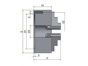 3-čelisťové sklíčidlo s centrickým upínáním Ø 80 mm