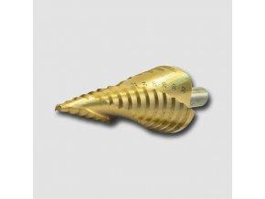 Vrták stupňovitý spirál.drážka HSS TiN 4-35mm krok 2-3