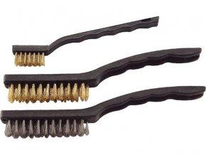 kartáče ocelové, sada 3ks, 180mm, 2x225mm, vlnitý drát S 0,3mm a S 0,5mm, Fe/MOSAZ, Fe, EXTOL CRAFT