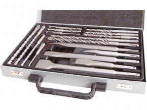 vrtáky a sekáče SDS PLUS, sada 17ks, sekáče 250mm: plochý 20 a 40mm, špičatý, sekáče 140mm: plochý 20mm, špičatý, vrtáky: ∅5-6-8-10x110mm, ∅6-8-10-12x160mm, ∅8-10x210mm, ∅12-14x260mm, v kovové kazetě, EXTOL CRAFT
