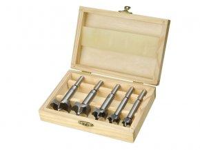 frézy-sukovníky, do dřeva, sada 5ks, ∅15-20-25-30-35mm, stopka 8mm, v dřevěné kazetě, EXTOL CRAFT