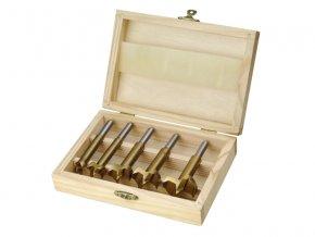 frézy-sukovníky, do dřeva, sada 5ks, ∅15-20-25-30-35mm, stopka 8mm, titanová úprava, v dřevěné kazetě, TiN, EXTOL CRAFT