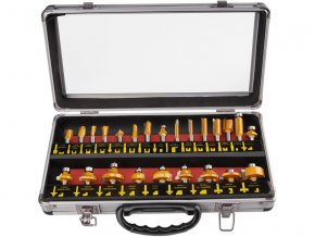 frézy tvarové do dřeva s SK plátky, sada 24ks, stopka 8mm, v kovovém kufru, SK, EXTOL PREMIUM