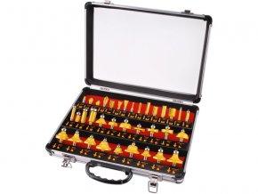 frézy tvarové do dřeva s SK plátky, sada 35ks, stopka 8mm, v kovovém kufru, SK, EXTOL PREMIUM