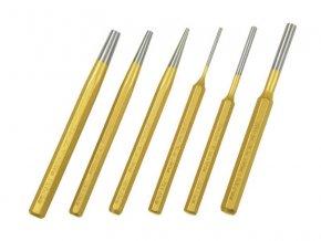 průbojníky a vyrážeče, sada 6ks, složení sady: 3x vyrážeč závlaček 3-5-8x150mm DIN6450, 3x průbojník 3-5-8x150mm DIN6458, v nylonovém pouzdře, CrV, EXTOL PREMIUM