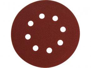 papír brusný výsek, suchý zip, bal. 10ks, 150mm, P120, 8 otvorů v kružnici 65mm, EXTOL PREMIUM