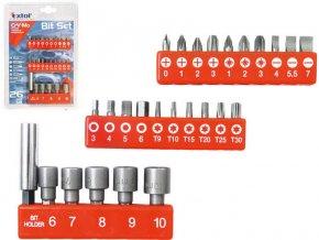 hroty, sada 26ks, nástrčné hlavice 6-7-8-9-10mm, magneticky´ držák hrotů, CrMoV, EXTOL PREMIUM