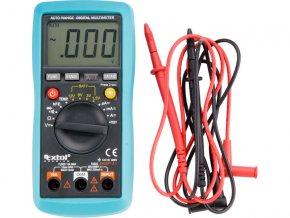 multimetr digitální s automatickou volbou rozsahů, rozsah měření: DC napětí 200mV-600V, AC napětí 2V-600V, DC a AC proud 200 µA-10A, odpor 200Ohm-20MOhm, teplota -20°C-1000°C, test baterií 1,5/3/9/12V, test tranzistorů a diod
