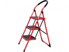schůdky skládací ocelové, 3 stupně, nejvyšší schůdek 68cm, nosnost 150kg, vzdálenost mezi schody 25,5cm, rozměr schodu 38x26cm, rozměr rozložených schůdků 107x67x47cm, rozměr složených schůdků 123x6x47cm, hmotnost 6,2kg
