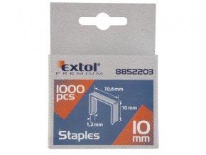 spony, balení 1000ks, 10mm, 10,6x0,52x1,2mm, EXTOL PREMIUM