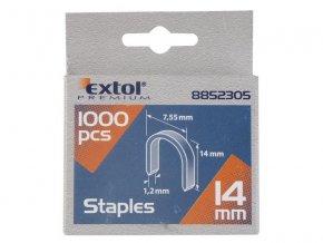 spony oblé, balení 1000ks, 14mm, 7,55x0,52x1,2mm, EXTOL PREMIUM