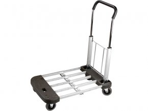 vozík skládací, nastavitelná nosná plocha 53-74x44cm, nosnost 150kg, velikost složeného vozíku 53x44x24cm, konstrukce z hliníkové slitiny a kvalitního plastu, železná výsuvná rukojeť s možností nastavení její výšky, hm