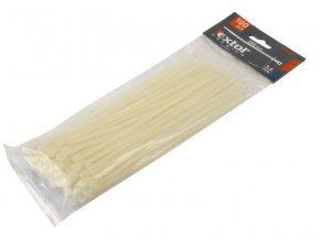 pásky stahovací bílé, 400x4,8mm, 100ks, NYLON, EXTOL PREMIUM