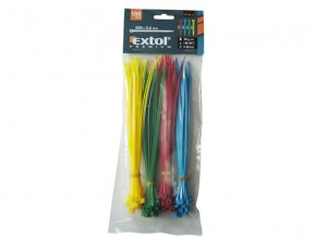 pásky stahovací barevné, 200x3,6mm, 100ks, (4x25ks), 4 barvy, NYLON, EXTOL PREMIUM