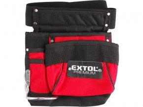 pás na nářadí, 3 kapsy (1 velká, 1 střední, 1 malá), držák na kladivo, úchyty pro tužku nebo šroubovák, nylon, EXTOL PREMIUM