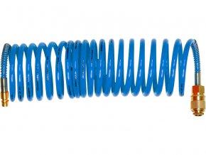 """hadice vzduchová spirálová PU s mosaznými rychlospojkami, 1/4"""", vnitřní ∅6mm, L 8m, EXTOL PREMIUM"""