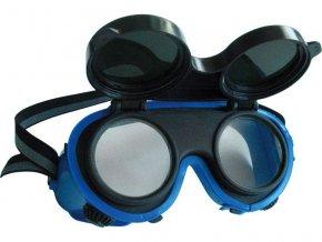brýle svářečské, odklápěcí kruhové zorníky třídy F, ochrana proti záření vznikajícím při svařování, univerzální velikost