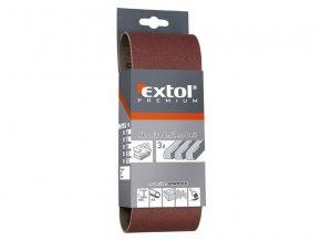 plátno brusné nekonečný pás, bal. 3ks, P80, 75x457mm, EXTOL PREMIUM