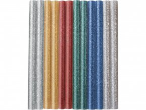 tyčinky tavné, mix barev se třpytem (glitter), pr.7,2x100mm, 12ks