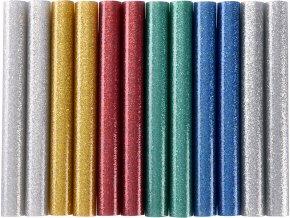 tyčinky tavné, mix barev se třpytem (glitter), pr.11x100mm, 12ks