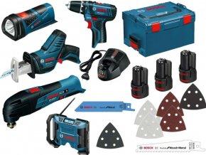 BOSCH 5 ToolKit 12V GSR12V-15+GSA12V-14+GOP12V-28+GLI12V-80+GPB12V-10  + Dárek dle vlastního výběru