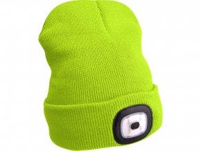 čepice s čelovkou 45lm, nabíjecí, USB, fluorescentní žlutá, univerzální velikost