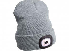 čepice s čelovkou 45lm, nabíjecí, USB, šedá, univerzální velikost