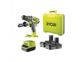 Ryobi R18PD7-220B - aku 18 V bezuhlíková příklepová vrtačka + 2x 2Ah baterie + nabíječka ONE+  + Dárek dle vlastního výběru