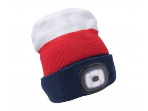 čepice s čelovkou 4x45lm, USB nabíjení, bílá/červená/modrá, univerzální velikost
