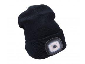 čepice s čelovkou 4x45lm, USB nabíjení, černá, univerzální velikost